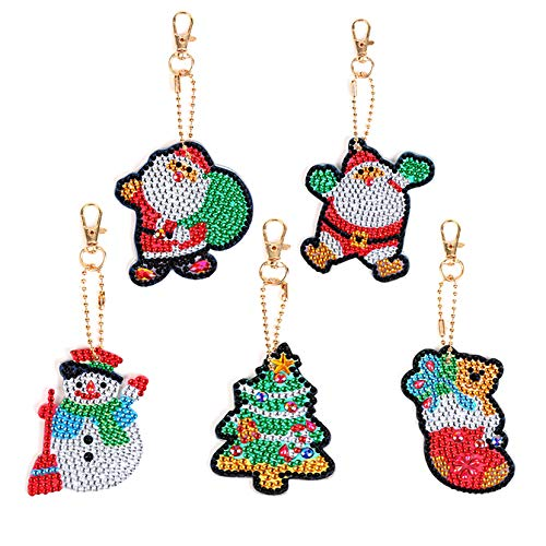 EIYUN 5 Pack Diy 5d Diamond Painting Christmas Keychain Rhinestone Inlaid Keyring,3d Ornament for Charm Purse Handbag Gift