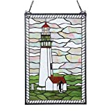 Bieye W10005 Pigeon Point Lighthouse Tiffany Style Stained Glass Window Panel with Hanging Chain, 15' W x 23' H