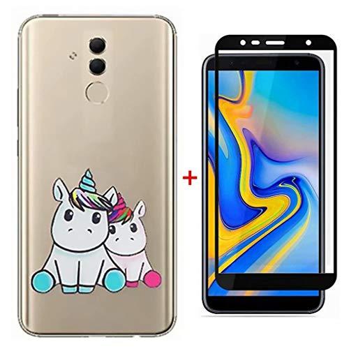 FHXD Hoesje voor Samsung Galaxy A50 Ultradunne Transparante TPU Siliconen Beschermhoes [Gehard glasfilm] Ultradunne Zachte Krasbestendig Schokbestendige Telefoonhoes-Koppel Eenhoorn