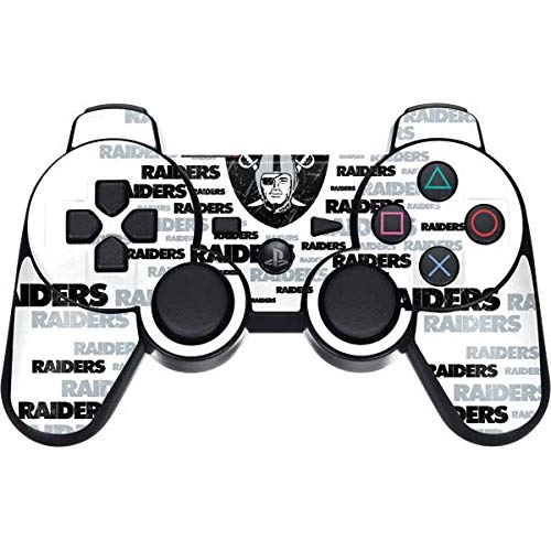 Skinit Decal Gaming Skin Compatible with PS3 Dual Shock Wireless Controller - Officially Licensed NFL Las Vegas Raiders Silver Blast Design