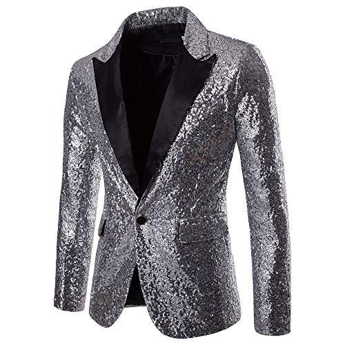 Riou Herren Pailletten Sakko Blazer Anzugjacke Slim Fit Glitzer Anzug Jacke Karneval Kostüm für Fasching Mottoparty (XL, Sliver)