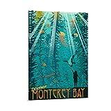 SDFGSD Póster vintage de viaje para acuario de Monterey Bay, póster de arte y pared para decoración de dormitorio