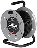 SMJ Electrical CTH2513 13A 4G 25 Metre Open Drum Cable Reel with Thermal Cut Out, 240 V, Black/Grey, Meter