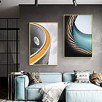 キャンバスウォールアートクリエイティブ建築ポスターとプリントブラックホワイトグレーシンプルなリビングルームの装飾通路廊下絵画壁画50x80cmx2pcsフレームレス