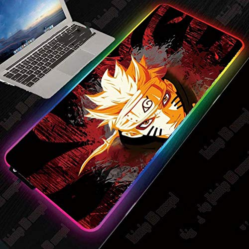 Mouse Pads Naruto Anime Gaming RGB Computer Large Mousepad Locking Edge Mouse Mat Desk PC Keyboard Pads with LED Backlight,27.6×11.8 Inches