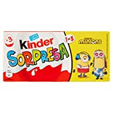 Kinder Ferrero - Huevo dulce con sorpresa, recubierto de chocolate fino a leche, 4 paquetes de 3 unidades de 20 g [12 unidades, 240 g]