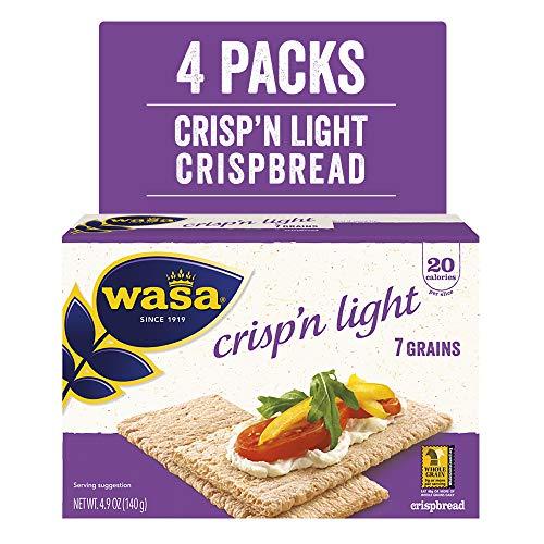 Wasa Crisp'N Light 7 Grains Crispbread, 4.9 Oz (Pack Of 4), Crackers, Fat Free, No Saturated Fat, 0g of Trans Fat, No Cholesterol, 2.5 Lb