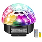 MOSFiATA Disco Ball Party Lights Bluetooth Speaker, 7 Inch 2 Bass Speaker 9 Colors Light 4 Modes TF Card MP3 Player Sound Activated LED DJ Stage Strobe Lamp with Remote Control for Wedding Party
