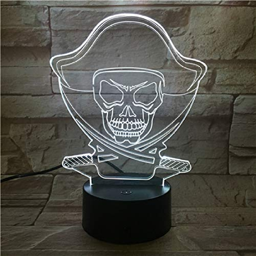 BFMBCHDJ Halloween Piraten Cooles Geschenk LED Kreative Nachtlampe Hochwertige Acryl 3D Lichter Baby...