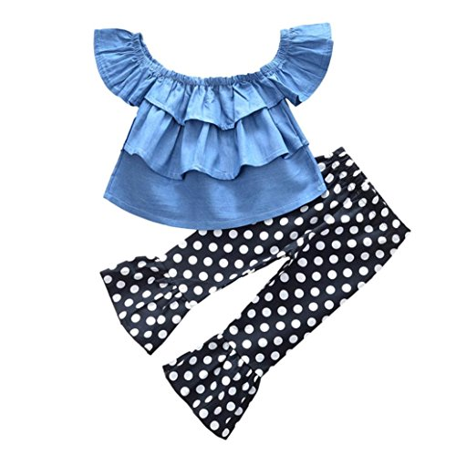 for 0-4 T Kids,Jchen(TM) Toddler Kids Baby Girls Summer Outfits Off Shoulder Denim Tops+Flares Pants Clothes Set (Age: 3-4 Years Old)