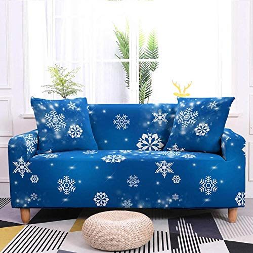 Blue Snowflake Printed Stretch Couch Cover, High Elastic Fabric Durable Sofa Slipcover, for Living Room Couch Cover L Shape Corner Armchair Protector Cover,4,Seater 235,300cm