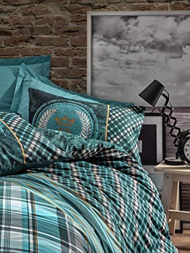 Cotton Box Colección de Ropa de Cama: 1 Funda de Almohada 80X80 Cm, y 155X220 Cm Funda Edredón, Masculino Ranforce - Diseñado y Fabricado en Turquía