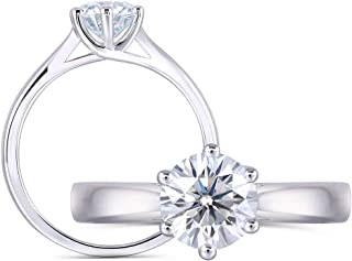 1ct 6.5mm Round Cut 2.6mm Band Width Lab Grown Moissanite Engagement Ring Platinum Plated Sterling Silver