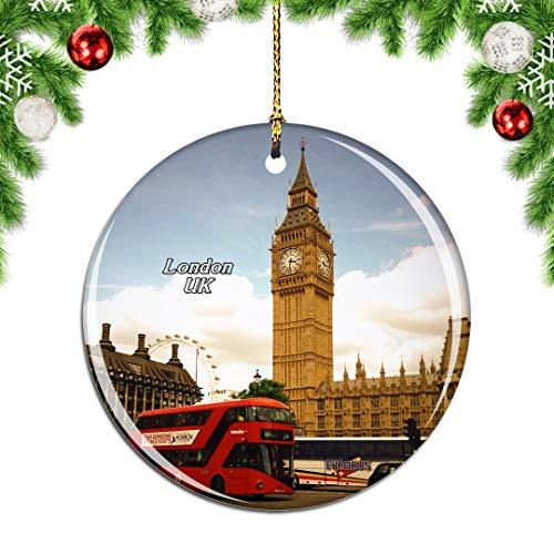 Weekino UK England Big Ben Red Bus London Christmas Xmas Tree Ornament Decoration Hanging Pendant Decor City Travel Souvenir Collection Double Sided Porcelain 2.85 Inch