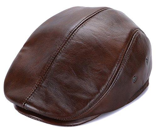 GEMVIE Boinas Hombre Invierno Cuero Moderna Impermeable Cálido Beret Hat Primavera Aire Libre Boina Caza,55-60cm (Marron, 3XL)