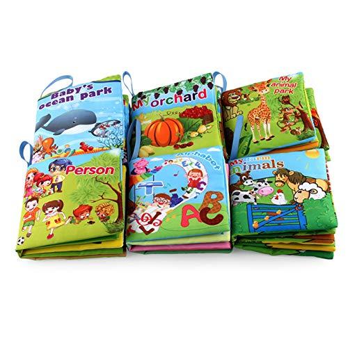 Aibecy Paquete de 6 libros de tela suave para bebés con sonido de pitido,no tóxicos,resistentes al desgarro,libro arrugado,para bebés y niños pequeños,aprendizaje,cognición,educación temprana, regalo