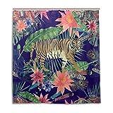 CPYang Duschvorhänge Tropische Blumen Blätter Tiger Wasserdicht Schimmelresistent Badevorhang Badezimmer Home Decor 168 x 182 cm mit 12 Haken