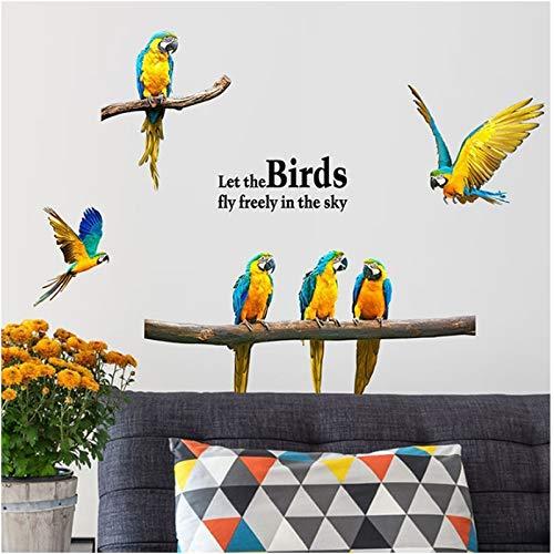 Calcomanía de pared de loro, calcomanía de pared de pájaros, arte de guacamayo, decoración del hogar de la habitación de los niños, vinilo DIY, decoración del hogar, papel tapiz de animales ex