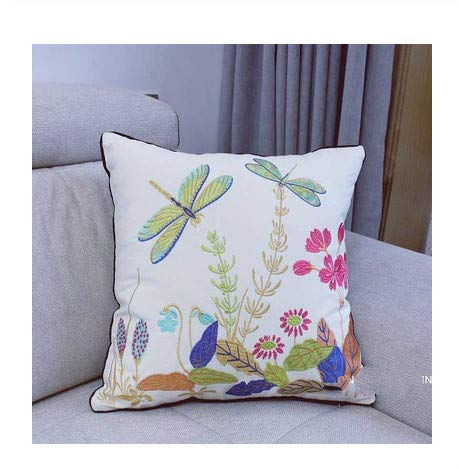Embroidered European Pastoral Floral Cushion cover cotton chair sofa cushion modern home decor Rectangle pillow - A,45X45cmcover