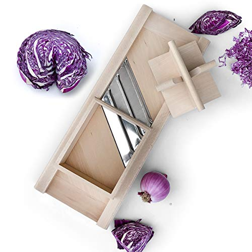 Raw Rutes -Traditional Wooden Cabbage Shredder Slicer with Hand Guard for Finely Cut Sauerkraut and Coleslaw - Heirloom Quality - Made in Europe!