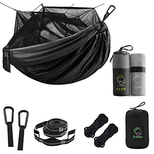 Grassman Double Portable Camping Hammock with Bug Net Bundle with Microfiber Fast Drying Camping Towel, 24''x47''