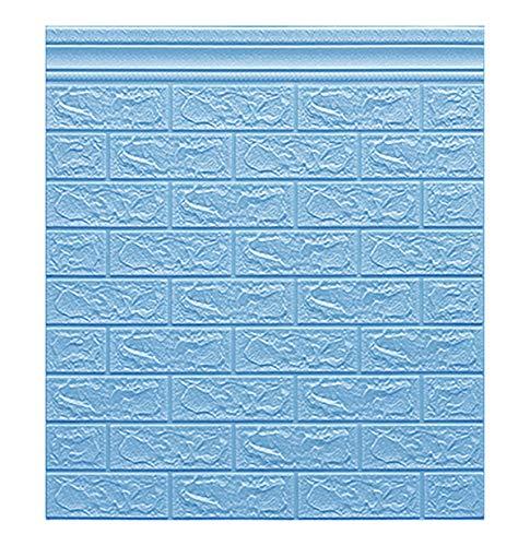 LXZFJW Papel pintado 3D ladrillo piedra papel pintado adhesivo en el panel de pared removible decoración del hogar papel pintado ladrillo imitación 3D ladrillo pared autoadhesivo pared azul 30pcs