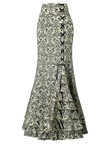Belle Poque Falda de la Sirena para Las Mujeres Vintage Jacquard con Cordones Ajustado Falda Larga Alta Cintura Verde Talla 42 BP204-3