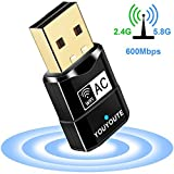 600Mbps USB WiFi Adapter, YOUYOUTE Dual Band 2.4G/ 5G USB 2.0 Wireless...