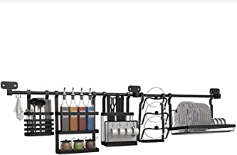 Kitchen Storage Rack Wall-Mounted Kitchen Shelf - Black Stainless Steel with 145cm Rod and Base for Kitchen, Storage
