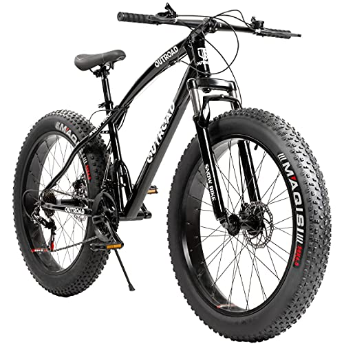Outroad Fat Tire Mountain Bike 26 Inch Wheels Adult Bicycle, 21 Speeds Sand Trek Bike, Double Disc...