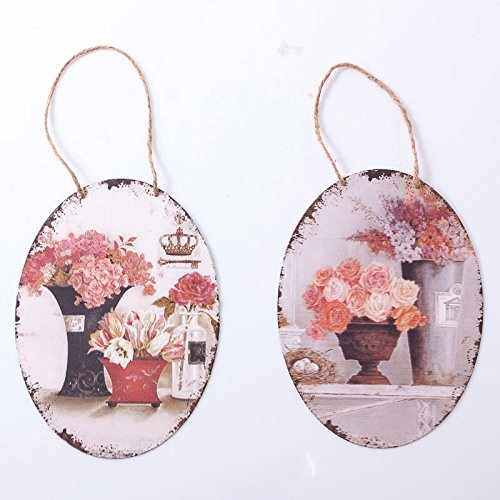 DiKasa Home Set Placche Ovali Shabby, Metallo, Multicolore, 20x1x27 cm