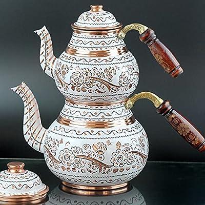 Vintage Copper Turkish Teapot Tea Kettle Pots Set for Stovetop Stove Top Decorative Antique - for Serving Drinking Housewarming Party Kitchen Birthday Gift Women Centerpiece