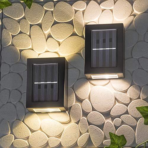 SA Products Up and Down Solar-Wandleuchten, energiesparend, wasserdicht, staubdicht, mit warmweißen LED-Lichtern, für Garten, Terrasse, Garage, Haustür, Auffahrt, Weg, 8,6 x 7,5 x 12 cm, 2er-Pack