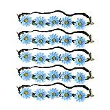 PRETYZOOM 5Pcs Diademas de Flores Bohemias Diademas de Flores de Margarita Diademas de Guirnalda de Girasol para Fiesta de Playa Hawaiana Azul