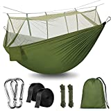 Rusee Camping Hammock with Net Outdoor Hammock Travel Bed Lightweight Parachute Fabric Double Hammock for Outdoor, Camping, Hiking, Backpacking, Backyard (Army Green)