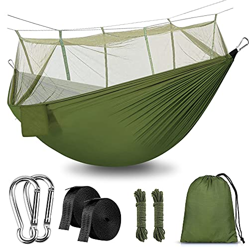 Rusee Camping Hammock with Net Outdoor Hammock Travel Bed Lightweight...
