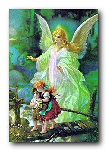Schutzengel mit Schutzhülle Kinder Auf Brücke religiöse Wall Decor Poster/Kunstdruck (40 x 50)