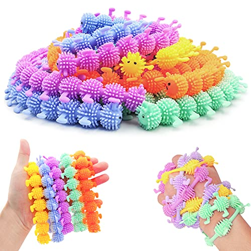 Caterpillar Fidget Toys, 20 Pack Stretchy String Autism Sensory Toys for Anti Anxiety & Stress Relief, Fun Monkey Noodle Fuzzy Worm Colorful Long Squishy Rubber Toy for Kids Teenagers Adults