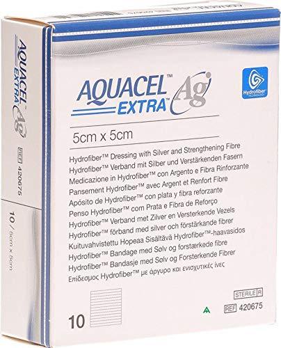 Aquacel AG Extra Hydrofiber-Wundkompresse mit Silber, 5 cm x 5 cm, 10 Stück, 420671