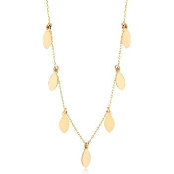18 Inch GELIN 14k Solid Gold Station Pearl Pendant Chain Necklace for Women