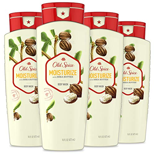 Old Spice Body Wash for Men, Moisturize with Shea Butter Scent, 16 Fl Oz (Pack of 4)