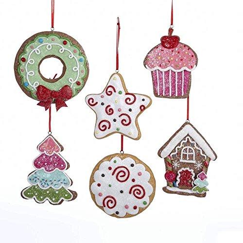 Kurt Adler (6) Gingerbread Cut-out Cookies Christmas Ornament Set