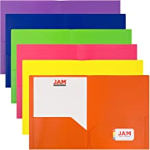 JAM PAPER Plastic 2 Pocket School POP Folders - Assorted Primary Colors - 6/pack