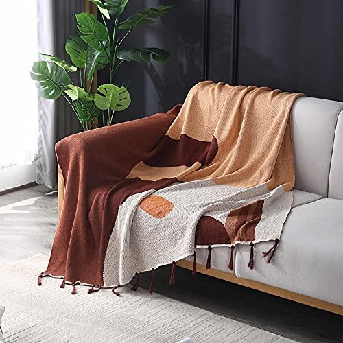 haoyunlai Manta de sofá, manta de punto, toalla de sofá con borla, funda de sofá para sala de estar, colcha de ocio, 130 x 160 cm