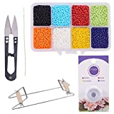 PH PandaHall Bead Loom Jewelry Beading Crafts Kit - Bead Weaving Loom Kit, About 1600pcs 8 Color 12/0 Glass Seed Beads, Steel Scissors, Knitting Needle, Threads