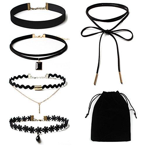 Mypace Anhänger Gold Silber 925 Für Damen 5Pieces Choker Halskette Set Stretch Velvet Classic Gothic Tattoo Lace Choker