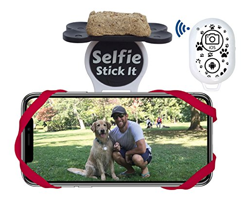 Dog Selfie Stick It with Pet & Pooch Treat Holder Attachment – From the Inventor of the Selfie Stick – Capture Priceless Moments with Your Pets Using the Hands-Free Bluetooth Camera (Red)