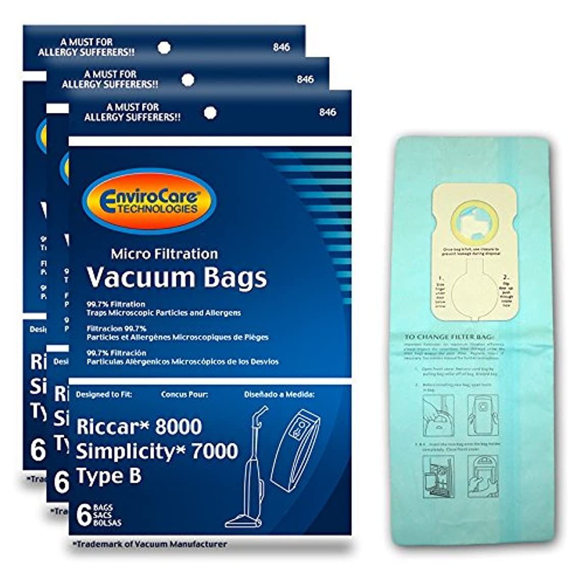 EnviroCare Replacement Vacuum Bags for Riccar 8000 and Simplicity 7000 Type B 18 pack