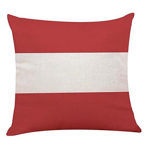 Kissenbezüge 45 * 45cm aus Leinenmischung Kissenhüllen Weich mit Geometrischen Mustern Dekokissenbezüge für Sofa Auto Terrasse Zierkissenbezüge Rot und Weiß,1 Stück (C)