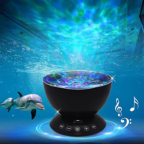 Iavo Remote Control Ocean Wave LED Projector Night Light with 7 Colorful Light Mode and Built-in Music Player Black